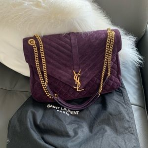 Saint Laurent College Large Suede Monogram Quilt